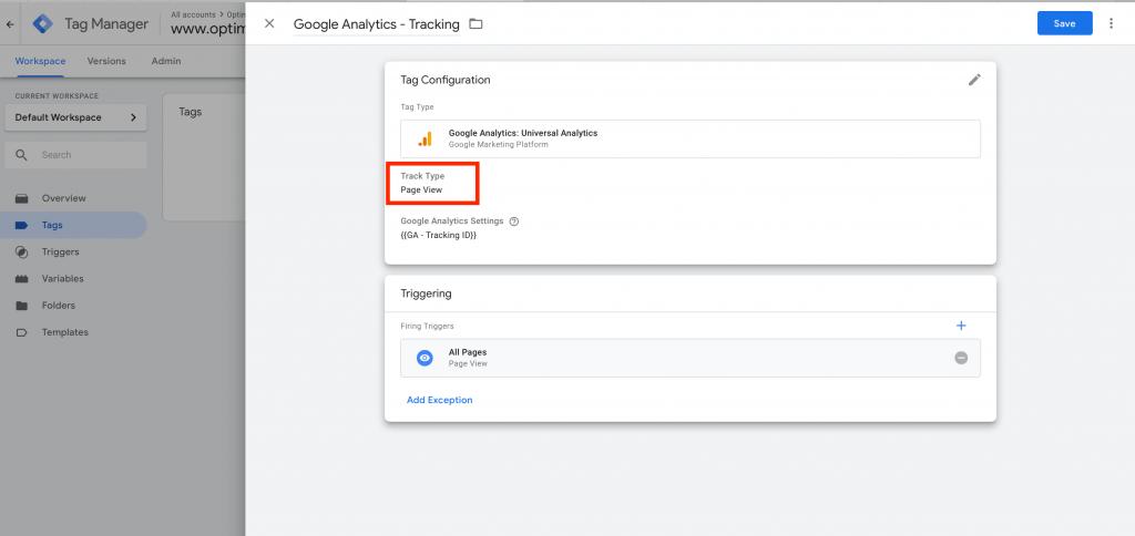 Google Analytics Track Type