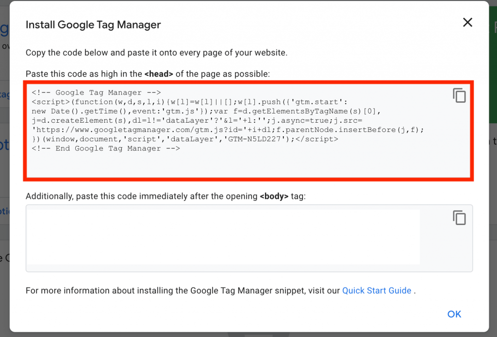 Google Tag Manager Installation Code for Shopify