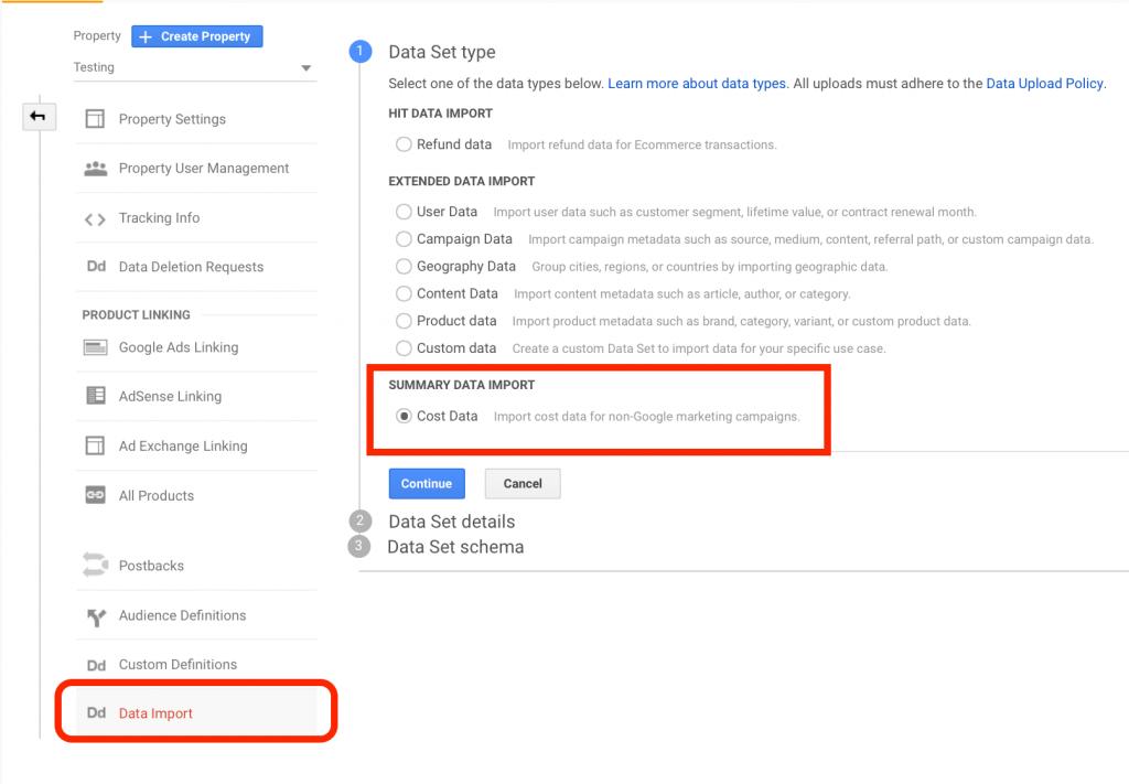 data import in google analytics steps