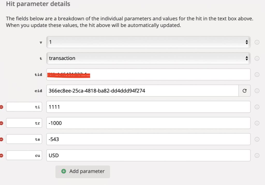 Hit parameter details