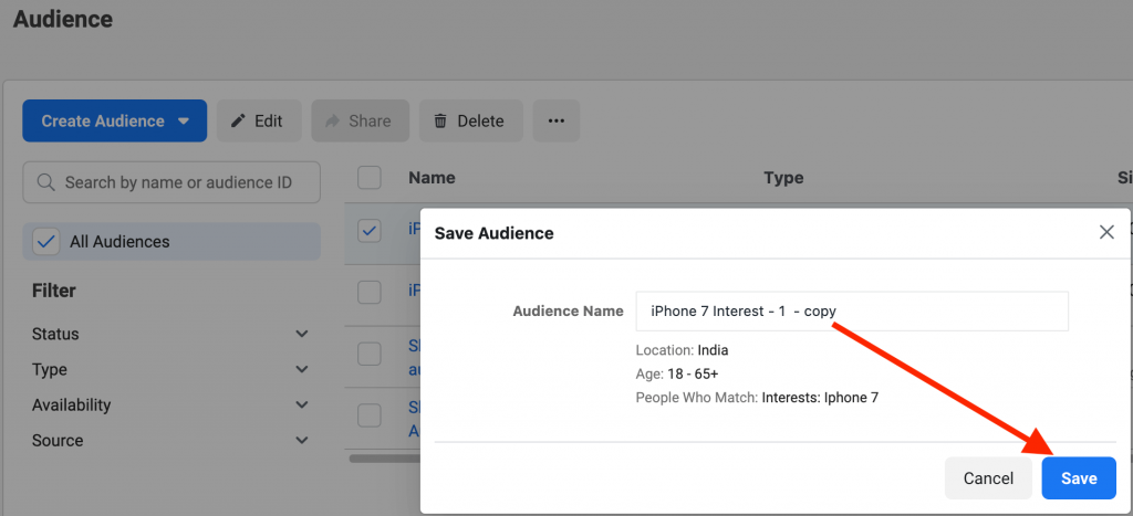 Duplicate a Saved Audience 3
