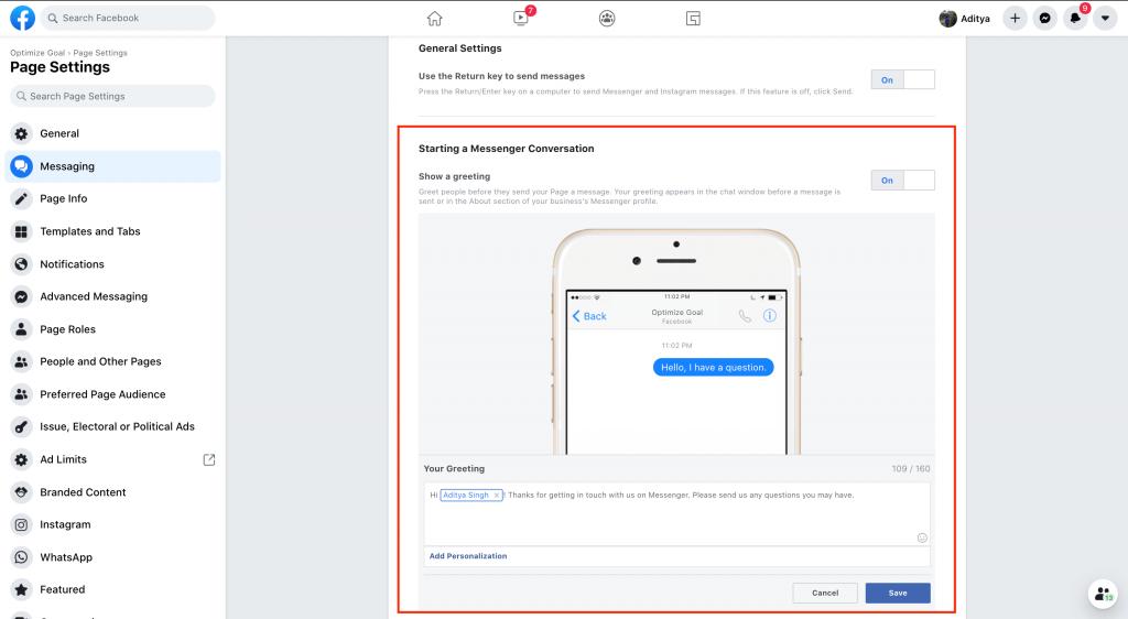 Messenger Greeting Step 5