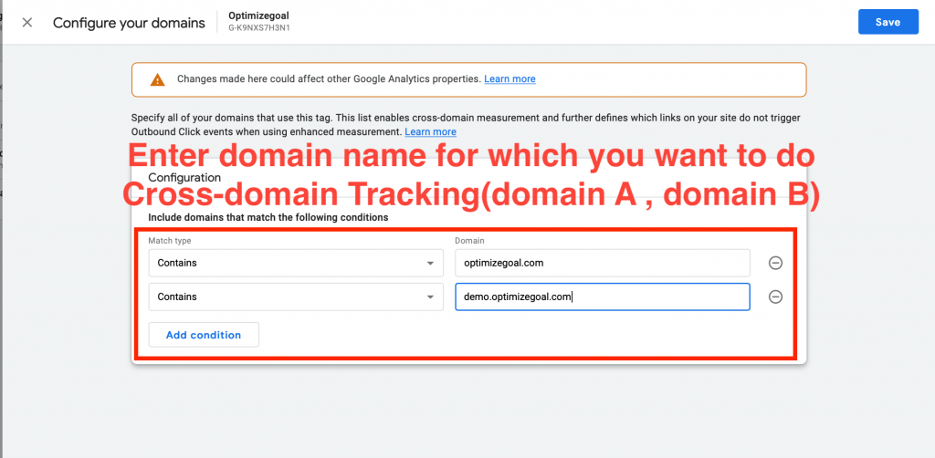 cross domain tracking google analytics 4 step4