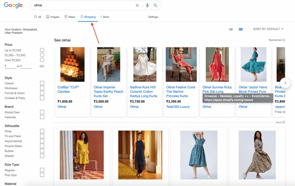 free new google shopping tab