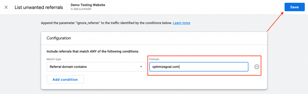 Exclude Referrals in Google Analytics 4 Enter Domain Save