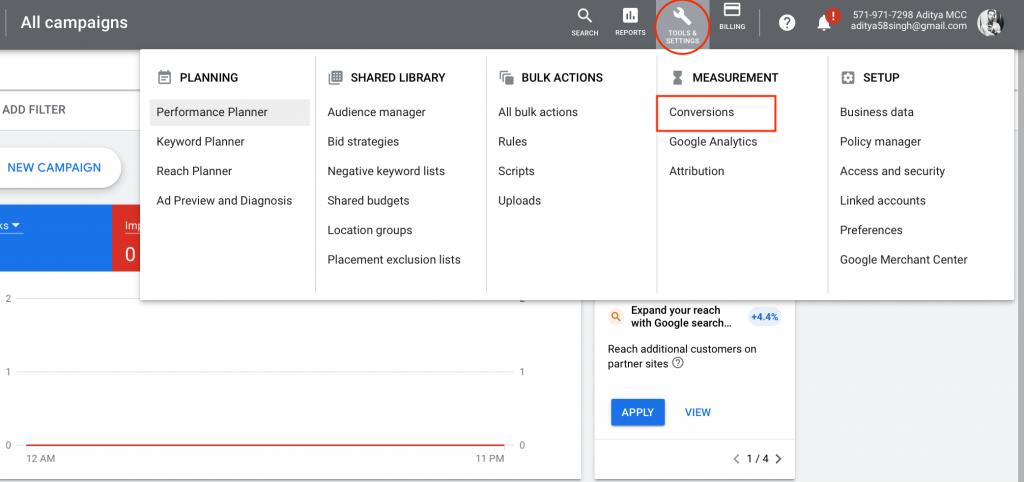 Change Attribution Model in Google Ads Step 1